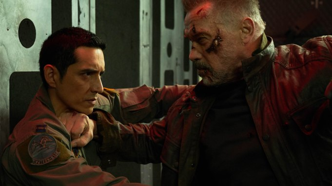 "Arnold Schwarzenegger and Gabriel Luna, left, star in Skydance Productions and Paramount Pictures' ""TERMINATOR: DARK FATE."""