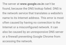 DNS Lookup Failed Error in Chrome