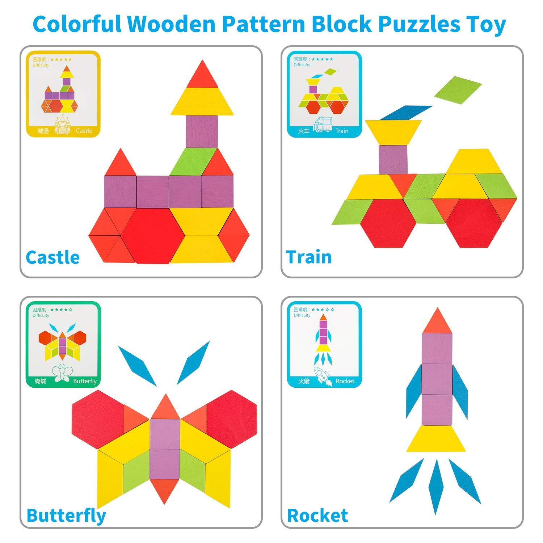 Wooden Pattern Blocks Set Geometric Shape Puzzle With