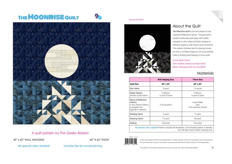 Moonrise Quilt Pattern - front back
