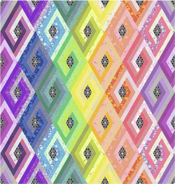 Vortex quilt pattern by Geeky Bobbin - queen size in Tula Pink True Colors 2020 with Linework Panda fussy cut