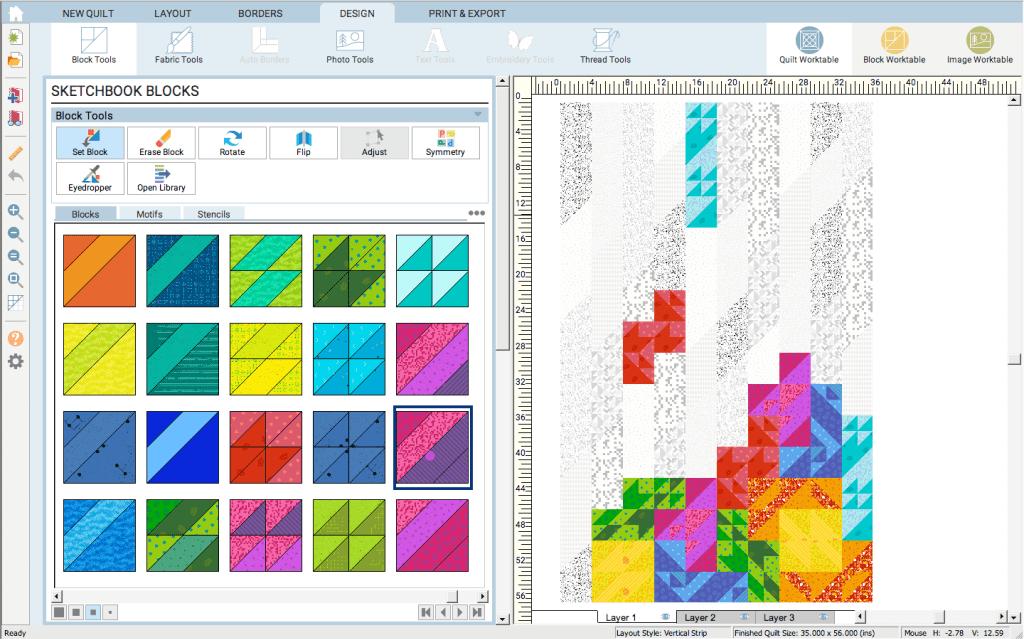 Geeky Bobbin retro tetro quilt design in Electric Quilt software