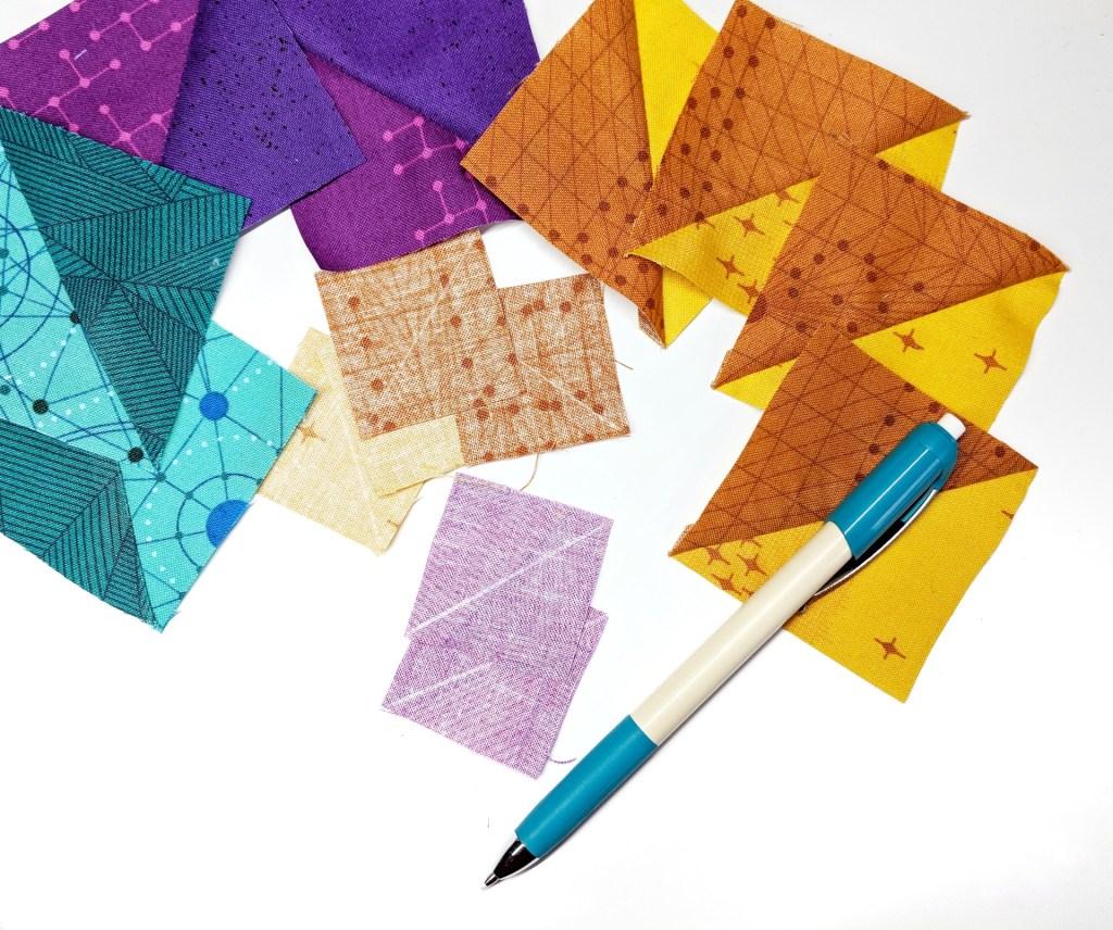 geeky bobbin quilt blocks - diagonal stripe quilt blocks for retro tetro quilt pattern