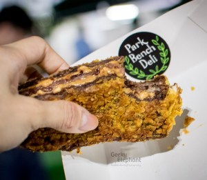Savour 2015: Park Bench Deli—Cornflake-crusted Fried Triple-Stacked Peanut Butter and Jelly Sandwich.