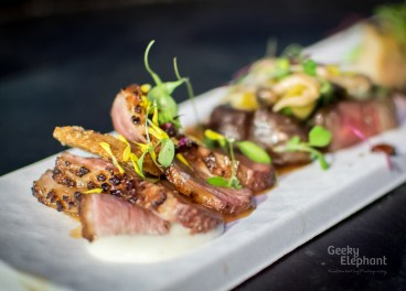Savour 2015: Kudeta Singapore—Duck Breast Sous Vide with Cauliflower Puree, Spicy Yuzu Miso.