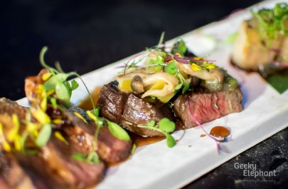 Savour 2015: Kudeta Singapore—Angus Beef with Apple Balsamic Teriyaki, Wasabi Salsa.