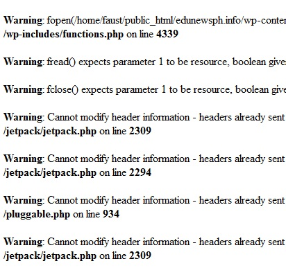upgrade jetpack - php error codes