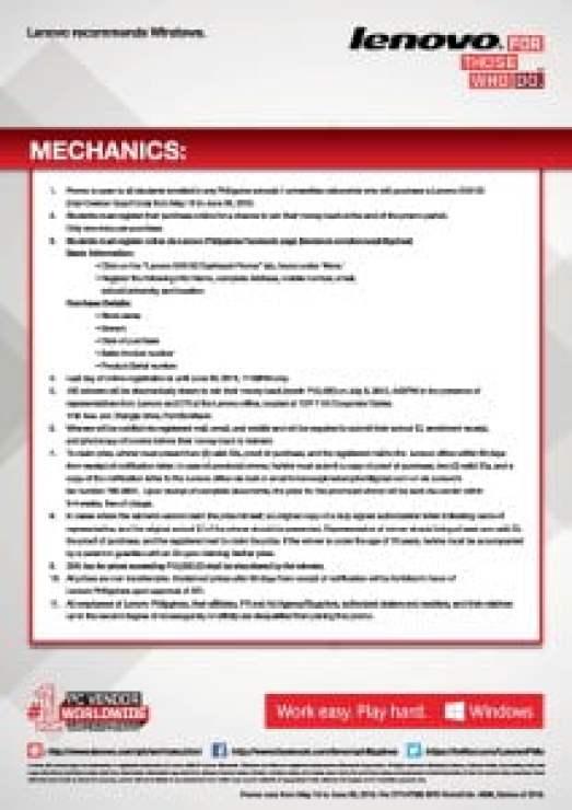 Lenovo G40-30 cashback promo mechanics