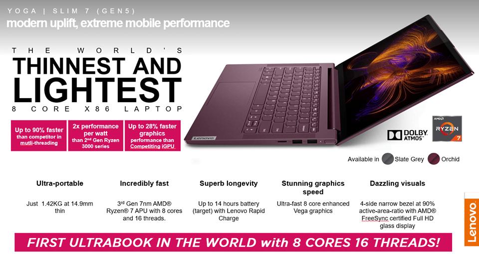 Lenovo Yoga Slim 7 Ultrabook with AMD Ryzen 7 U Processor