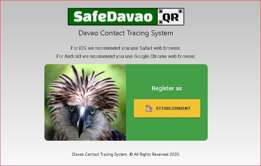 Safe Davao QR Code for Business Establishments