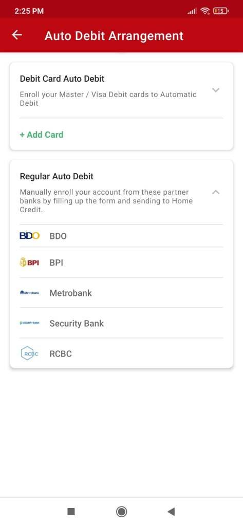 My Home Credit Debit Card Auto Debit