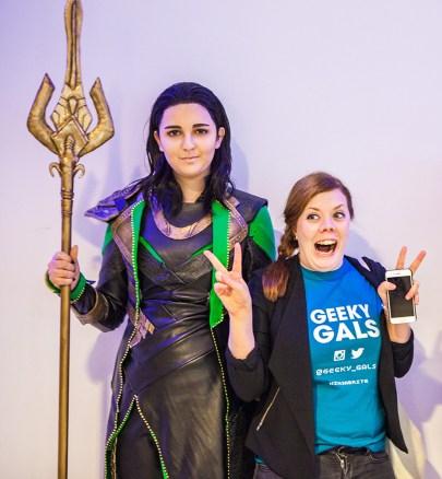 Geeky Gals Becki with Loki cosplayer