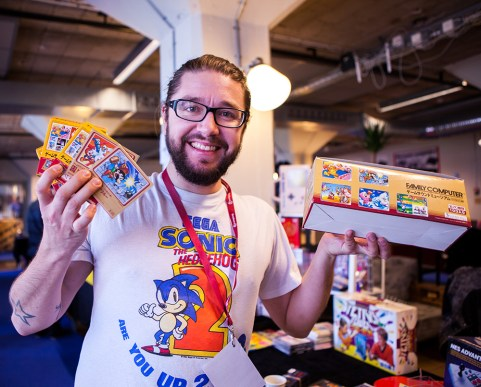 MXS selling Famicom CD's at Retrospelsfestivalen 2015