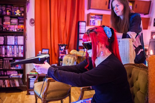 Tille playing Missile Defense 3-D