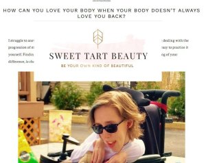 Sweet Tart Beauty logo, with my article and picture of me outside