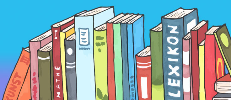 A pile of books on a shelf, illustrated