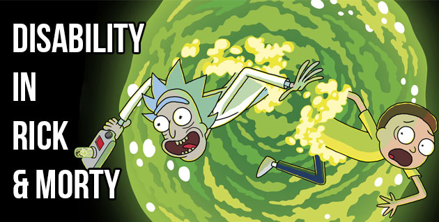 Disability in Rick and Morty. Image of two main characters in a green swirl