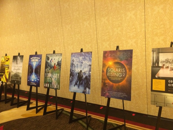 2013 nominee book covers on easels at PKD Award ceremony