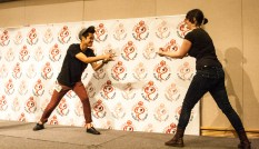Alex Dang and Rachel Rosenberg face-off at the Geek poetry slam