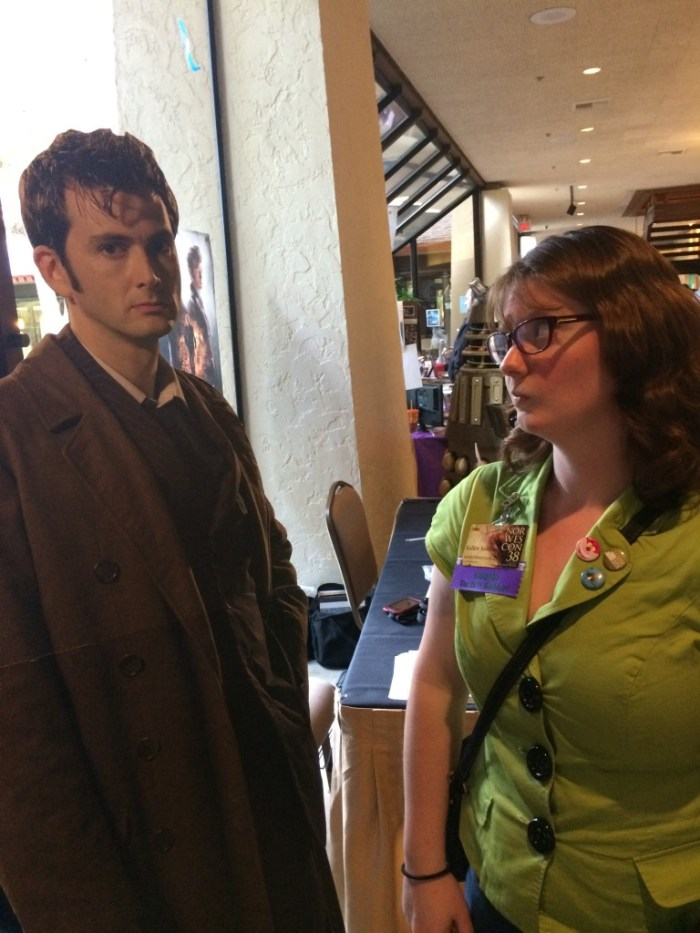 A cardboard figure of the 10th Doctor. And his creepy eyes.