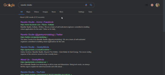 google search results dark mode