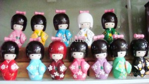 Traditional Japanese Wooden Kokeshi Dolls