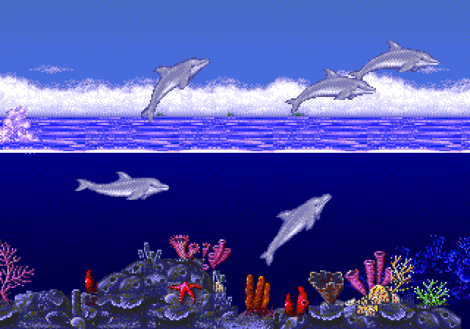 Ecco, Ecco the Dolphin, Ecco JR, Ecco Tides of Time, Ecco Defender of the Universe, Dolphin, Dolphins, Ocean, Deep Sea, Aquatics, Exploration, Puzzles , Quests, Tricks, Aerial Tricks, Stunts, Aerial Stunts, Swimming, Animals, Marine, Marina, Sega. Sega Genesis, 90s, Review, Retro, Retro Gamer, Retro Gaming, Retro Videogame, Ecco the Dolphin Review, Sega Genesis Review, Video Game, Videogame