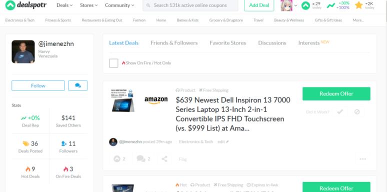Follow Users on Dealspotr