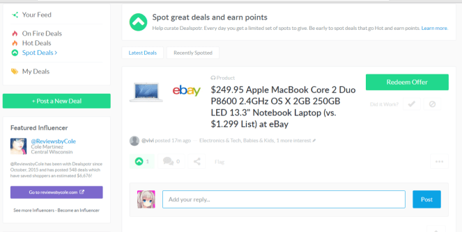 Commenting on Dealspotr
