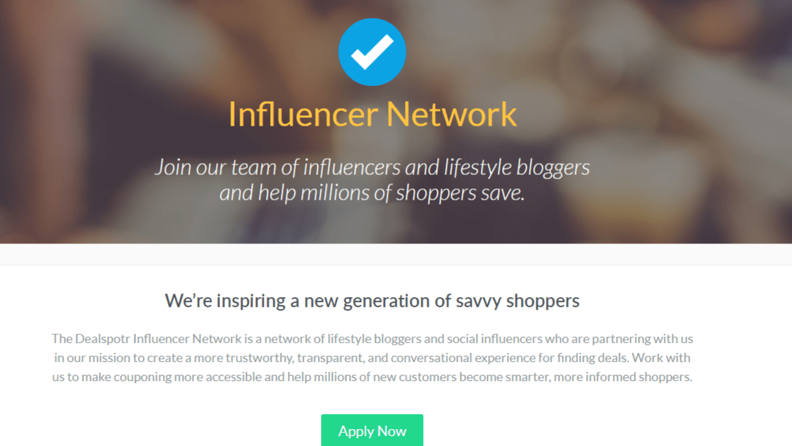 Apply Now to Become an Influencer on Dealspotr