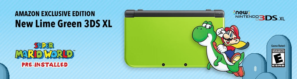 New Lime Green Amazon Exclusive New 3DS XL with Super Mario World for $199