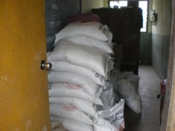 Rice in the storeroom for the student lunches