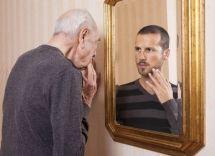 Geezer looking into a mirror
