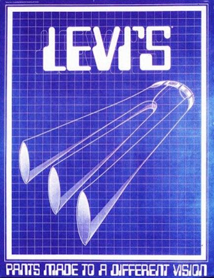 "1970s, ""3 Legged Levi's."" Artist: Tony Naganuma. Lettering: Tony Naganuma"