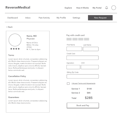 Wireframe - Checkout Screen