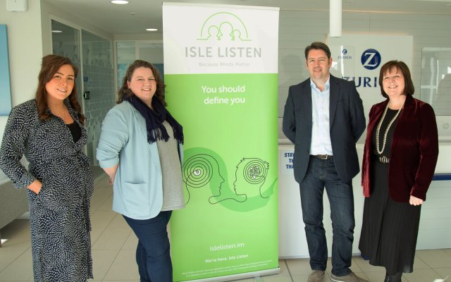 Pictured Left to Right - Annabel Chambers, Isle Listen Project Lead, Ruth Adamson, Learning & Talent Development Consultant, Zurich International, Nigel Simpson, Head of International Markets at Zurich International, Andrea Chambers, Chief Executive, Isle Listen.