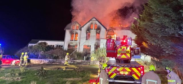 The fire at the former Ballacallin Hotel in Dalby was tackled by about 45 fire fighters