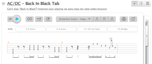 Abspielbare Tab-Notation auf songster.com