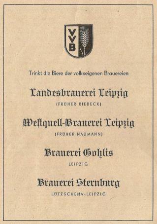Volkseigene Biere aus Leipzig 1950