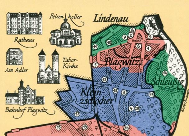 Plagwitz auf einer Karte von Angelika Pohler***