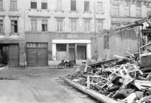 Aus der Hildegard- auf die Bogislawstraße gesehen, 1987