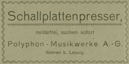 Polyphon-Anzeige 1917, Phonographische Zeitschrift