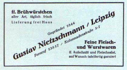 Fleischerei Nietzschmann im Leipziger Adressbuch 1929