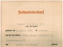 Facharbeiterbrief Brauer und Mälzer, Leipzig 1941