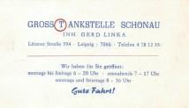 Visitenkarte Großtankstelle Schönau, 1980er Jahre
