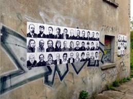 Porträtwand am Haus Russenstraße 46, 2014 (links oben: Lenin)