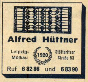 Hüttner-Anzeige von 1942
