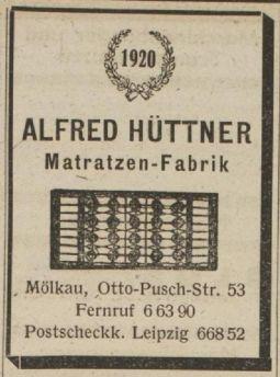 Hüttner-Anzeige von 1949