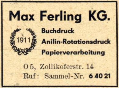 Max Ferling KG, Anzeige von 1950